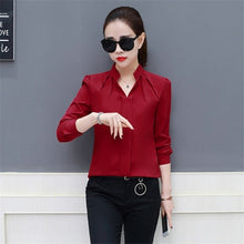 Load image into Gallery viewer, 2019 Women Sexy V-neckline Chiffon Blouse Ladies Long Sleeve Pleated Shirts Elegant Plus Size Stylish Office Blouse