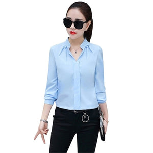2019 Women Sexy V-neckline Chiffon Blouse Ladies Long Sleeve Pleated Shirts Elegant Plus Size Stylish Office Blouse