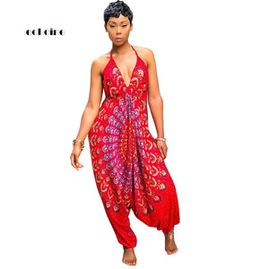 Echoine Women Jumpsuit National Style Print Sexy V-Neck Halter Backless Spaghetti Strap Sleeveless Loose Long Pant Female Romper
