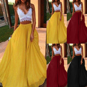 Womail Women Skirt Summer Fashion Long Hippie Spring Casual Solid Color Midi Skirt Chiffon Skirts Daily 2019 dropship f10