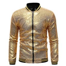 Load image into Gallery viewer, Men Golden jacket Sequin Jacket Coat Casual Slim Fit NighClub Suit Performance Shinning Outwear Male Dance Zipper Jackets