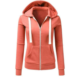 Women Long Sleeve Patchwork Solid Color Hooded Zipper Casual Sport Coat Pullovers Girl Hooded Female coat