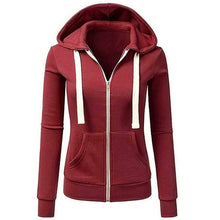 Load image into Gallery viewer, Women Long Sleeve Patchwork Solid Color Hooded Zipper Casual Sport Coat Pullovers Girl Hooded Female coat