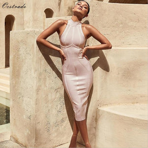 Ocstrade Red Christmas Bandage Dress Bodycon New Year Dresses for Women 2019 Sexy Striped High Quality Midi Bandage Dress Party
