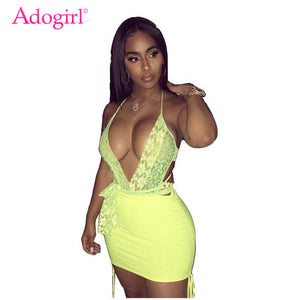 Adogirl Fluorescence Color Women Two Piece Set Dress Sexy V Neck Halter Backless Bodysuit + Bodycon Mini Skirt Club Party Suits