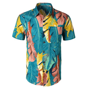floral shirt Men Casual Printed Button Down Short Sleeve Shirt Hawaiian shirt Top Blouse playeras de hombre Male clothing ropa
