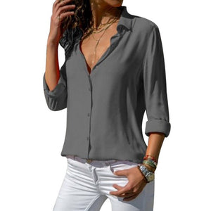 Laamei Women Tops Blouses 2019 Long Sleeve Solid V-Neck Chiffon Blouse Female Office Workwear Shirts Blouse Plus Size Camisa