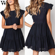 Load image into Gallery viewer, Womail dress Summer woman Casual Ruffles Sleeve Ladies O-Neck Hollow Out Ruched A-Line Dress party fashion Daily NEW 2019 A4