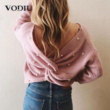 Load image into Gallery viewer, Sexy Backless Cross Pearls Sweater Pullover Jumper Knitting Loose Clothes Female Long Sleeve Knitted Women Winter Sweater
