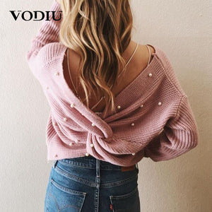 Sexy Backless Cross Pearls Sweater Pullover Jumper Knitting Loose Clothes Female Long Sleeve Knitted Women Winter Sweater