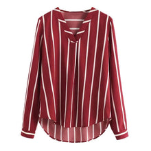 Load image into Gallery viewer, ISHOWTIENDA Women Blouses 2019 Polka Striped Print  Long Sleeve V-Neck Women Shirts Ladies Blouses  Tunique Femme Female Blusas