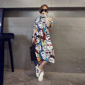 spring women han edition of the new easing long round collar cartoon large size ladies dress with Tshirt Dress Plus Size