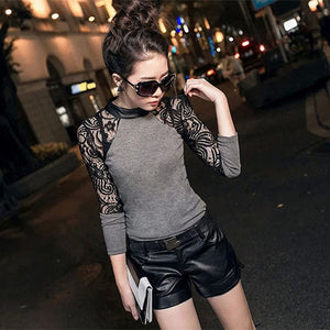 Women Long Sleeve Lace T-shirt Slim Knitwear Leather Crew Neck Knitted Tops Black Gray