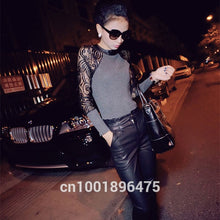 Load image into Gallery viewer, Women Long Sleeve Lace T-shirt Slim Knitwear Leather Crew Neck Knitted Tops Black Gray