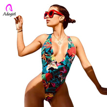 Load image into Gallery viewer, Adogirl floral deep v neck one piece swimsuits back x strap sexy women beach suits flower patterned halter bodysuits