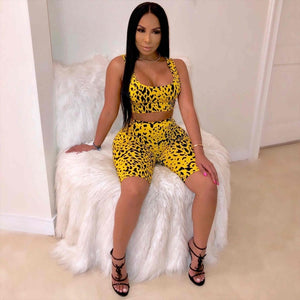 2019 Womens Summer Casual Shinny Tube Top Shorts Bodycon Two Piece Set Outfits Short Sport  Leopard Printed Jumpsuit Sets