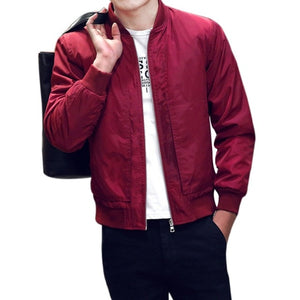New Autumn Spring Men's Jackets Solid Fashion Coats Male Casual Slim Stand Collar Bomber Jacket Men Outerdoor Overcoat M-4XL D4