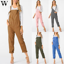Load image into Gallery viewer, Womail bodysuit Women Summer Casual Loose Dungarees Loose Long Pockets Rompers Jumpsuit Trousers fashion2019 dropship M1