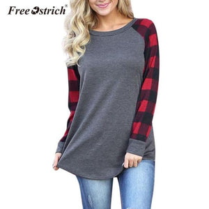 Free Ostrich T-shirt Women Pullover 2019 O-Neck Plaid Long Sleeve Sweatshirt Tops Shirt Newly Women Clothes A1930