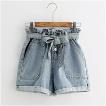 Load image into Gallery viewer, CALOFE Tie Waist Denim Shorts 2019 New Design Shorts Summer High Waist Button Fly Plain Casual Hot Sale Shorts Blue