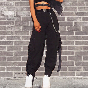 CALOFE Black High Waist Cargo Pants Women Pockets Patchwork Loose Streetwear Pencil Pants 2019 Fashion Hip Hop Women's Trousers