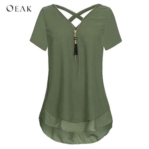 OEAK Fashion V-Neck Short Sleeve Back Cross Summer Chiffon Women Blouses Tops 2018 Casual Zipper Female Shirts Plus Size 5XL