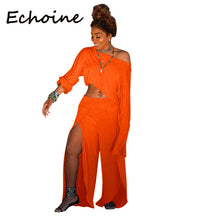 Load image into Gallery viewer, Echoine Plus Size S-3XL Sexy Women Set Soild Color High Split Long Sleeve Shirt+Long Pants Clubwear Summer Clothes For Women