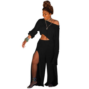 Echoine Plus Size S-3XL Sexy Women Set Soild Color High Split Long Sleeve Shirt+Long Pants Clubwear Summer Clothes For Women