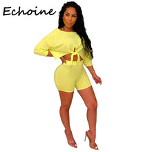 Load image into Gallery viewer, Echoine 2 Piece Set Women Tracksuit Front Tie shorts Crop Tops + Pants Summer Clothes For Women Outfits 3 Solid Color