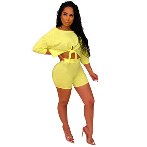 Echoine 2 Piece Set Women Tracksuit Front Tie shorts Crop Tops + Pants Summer Clothes For Women Outfits 3 Solid Color