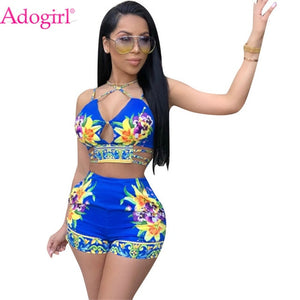 Adogirl Floral Print Women's Tracksuit Summer Two Piece Set Hollow Out Spaghetti Straps Crop Top + Shorts Cheap Fashion Outfits