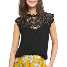 Load image into Gallery viewer, Summer fashion 2019 Women Lace Blouses Ladies Solid Causal Sleeveless Hollow Out  Blouse Tops Chiffon Shirt blusas mujer  #G