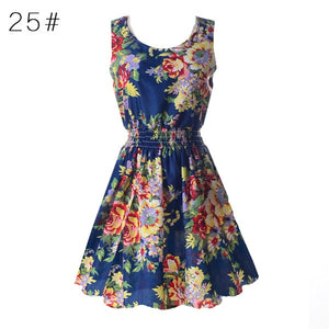 Fashion Women Sexy Chiffon Beach Dress Sleeveless Summer Sundress Floral Tank Dresses 20 Colors
