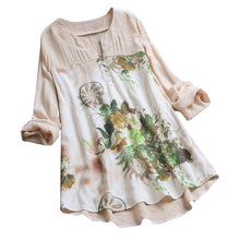 Load image into Gallery viewer, Blouse Women Vintage V-Neck Floral Printing Patch Long Sleeves Top Shirt Dames Blouses Lange Mouwen Chemisier Femme Woman Blouse