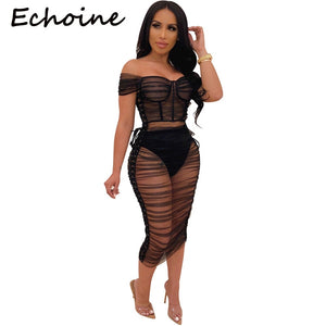 Echoine Sexy Sheer Mesh See Through Two Piece Set Slash Neck Off Shoulder Top + Dress Women Party Night Club Outfits