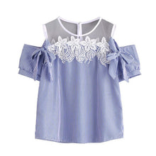 Load image into Gallery viewer, Free Ostrich Blouse 2019 Women Short Sleeve Off Shoulder Lace Striped Casual Tops tumblr top women casual C2635
