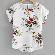 Load image into Gallery viewer, Summer Fashion Floral Print Blouse Pullover Ladies O-Neck Tee Tops Female Women's Short Sleeve Shirt Blusas Femininas Clothing