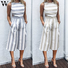 Load image into Gallery viewer, Womail bodysuit Women Summer Sleeveless Strip Jumpsuit Casual Jumpsuit Clubwear Wide Leg Pant Outfit Fashion 2019 dropship f28