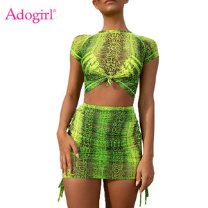 Adogirl Fluorescence Green Pink Snakeskin Print Two Piece Set Dress Short Sleeve T-shirt Crop Top + Bodycon Mini Skirt Sexy Suit
