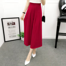 Load image into Gallery viewer, Wide Leg Pants Women Summer Chiffon Pants Ankle Length High Waist Chiffon Female Loose Casual Pant Trouser