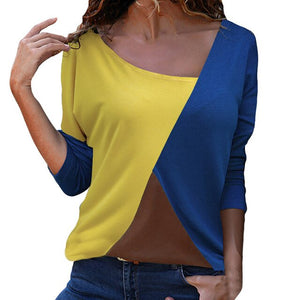 Blouse 2019 Women Casual Womens Tops And Blouses Patchwork Color Block O-Neck Long Sleeve Shirt Blouse Top