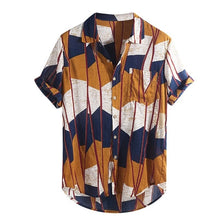 Load image into Gallery viewer, Womail 2019 New Arrivals Fashion Summer Mens Casual Multi Color Lump Chest Pocket Short Sleeve Round Hem Loose Shirts Blouse