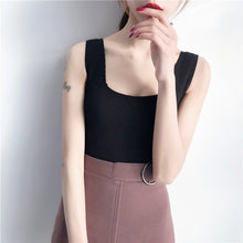 Load image into Gallery viewer, Women's Sexy Square Collar Solid Sleeveless Pullover Knitted Tank Top