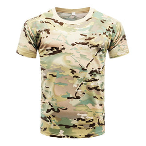 Summer  Camouflage T-Shirt Quick Dry Breathable Tights Army Tactical T-shirt Mens Compression T Shirt Fitness Running Outdoor