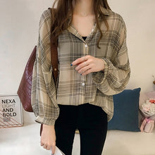 Load image into Gallery viewer, Batwing Sleeve Chiffon Blouses Chic Plaid Shirts Women  Autumn Casual Chemise Femme Tops Tartan Blusas Mujer Plus Size