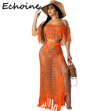 Load image into Gallery viewer, Echoine Off Shoulder 2 Piece Set Women Sheer Grid Tassel See Through Short Sleeve Crop Top + Long Dress Outfits