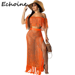 Echoine Off Shoulder 2 Piece Set Women Sheer Grid Tassel See Through Short Sleeve Crop Top + Long Dress Outfits