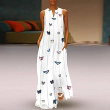 Load image into Gallery viewer, CALOFE Sexy V Neck Women Vintage Butterfly Print Dress 2019 Summer Sleeveless Pockets Dress Casual Loose Boho Maxi Long Dresses