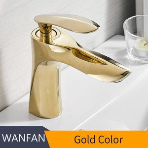 Basin Faucets Elegant Bathroom Faucet Hot and Cold Water Basin Mixer Tap Chrome Finish Brass Toilet Sink Water Crane Gold 220R