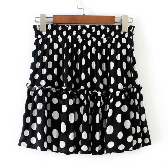 Womail Skirt Women Summer Fashion Polka Dot Print Ruffles A-Line Pleated Lace Up Short SKirt Casual NEW 2019 dropship M27